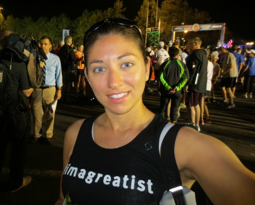 Waiting at the pre-race area, starting line over my shoulder!